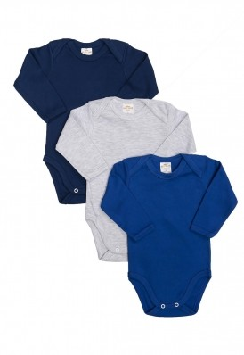 Kit 3 Peças Body Manga Longa Best Club Baby azul marinho, azul e cinza claro