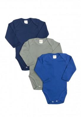 Kit 3 Peças Body Manga Longa Best Club Baby azul marinho, azul e verde