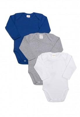 Kit 3 Peças Body Manga Longa Best Club Baby cinza, azul e branco