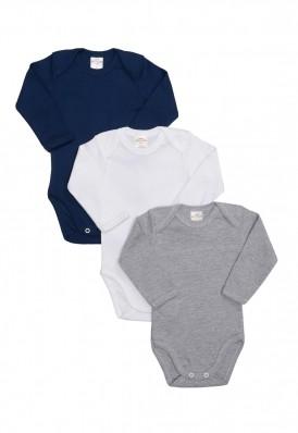 Kit 3 Peças Body Manga Longa Best Club Baby cinza, azul marinho e branco