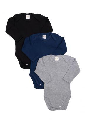 Kit 3 Peças Body Manga Longa Best Club Baby cinza, azul marinho e preto