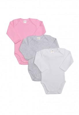 Kit 3 Peças Body Manga Longa Best Club Baby cinza claro, rosa claro e branco