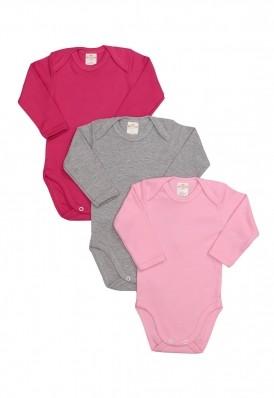 Kit 3 Peças Body Manga Longa Best Club Baby cinza, rosa claro e pink