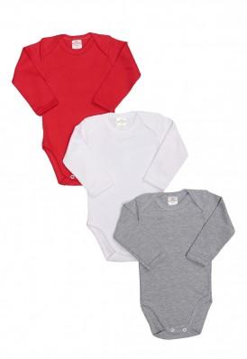 Kit 3 Peças Body Manga Longa Best Club Baby cinza, vermelho e branco