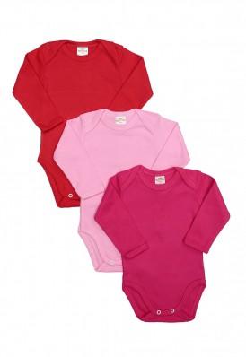 Kit 3 Peças Body Manga Longa Best Club Baby vermelho, rosa claro e pink