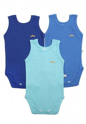 Kit 3 peças body regata Best Club Baby azul