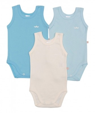 Kit 3 peças body regata Best Club Baby azul bebê e creme