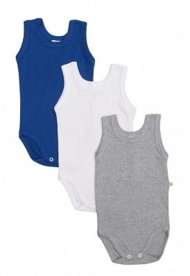 Kit 3 peças body regata Best Club Baby azul, branco e cinza