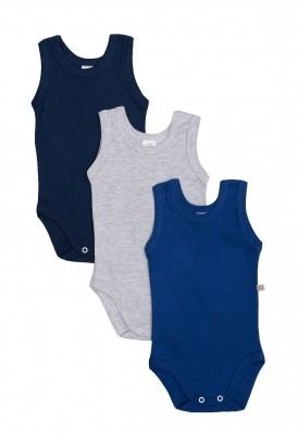 Kit 3 peças body regata Best Club Baby azul marinho, azul e cinza claro