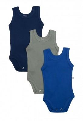 Kit 3 peças body regata Best Club Baby azul marinho, azul e verde