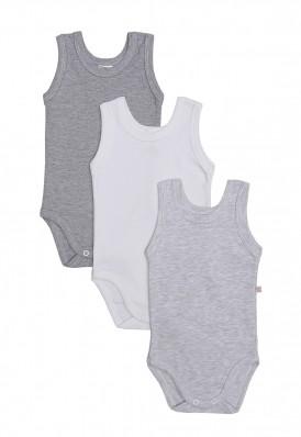 Kit 3 peças body regata Best Club Baby branco, cinza e cinza claro