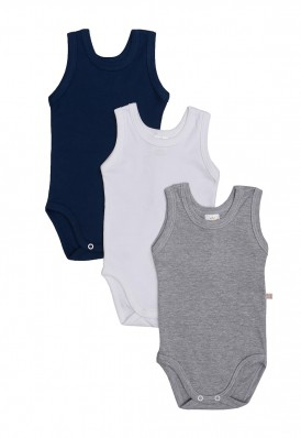Kit 3 peças body regata Best Club Baby cinza, azul marinho e branco