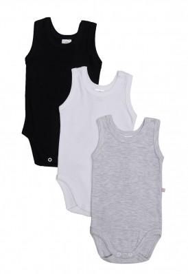 Kit 3 peças body regata Best Club Baby cinza claro, preto e branco