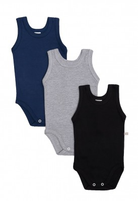 Kit 3 peças body regata Best Club Baby cinza, preto e azul marinho