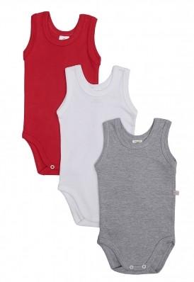 Kit 3 peças body regata Best Club Baby cinza, vermelho e branco