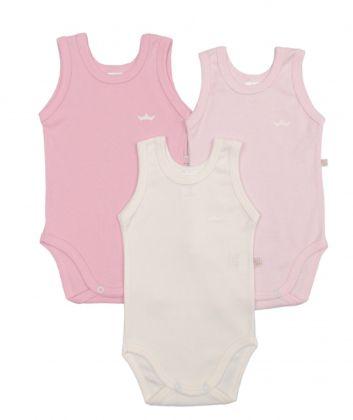 Kit 3 peças body regata Best Club Baby rosa bebê e creme