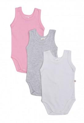 Kit 3 peças body regata Best Club Baby rosa, branco e cinza claro