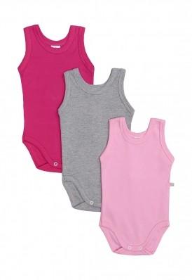 Kit 3 peças body regata Best Club Baby rosa, pink e cinza