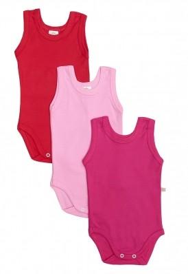 Kit 3 peças body regata Best Club Baby rosa, pink e vermelho