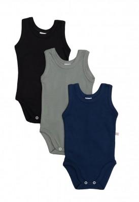Kit 3 peças body regata Best Club Baby verde, preto e azul marinho