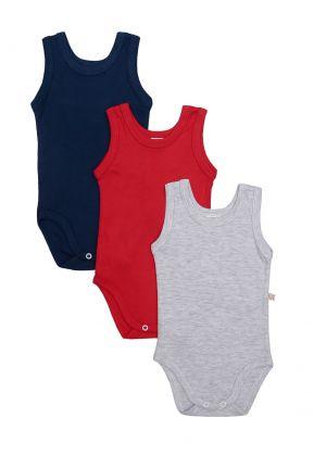 Kit 3 peças body regata Best Club Baby vermelho, cinza claro e azul marinho
