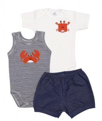 Kit 3 peças body regata, body manga curta e shorts Best Club Baby off white e azul jeans com bordado caranguejo