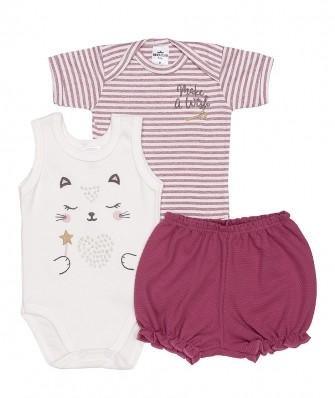 Kit 3 peças body regata, body manga curta e shorts Best Club Baby off white e violeta com bordado gato
