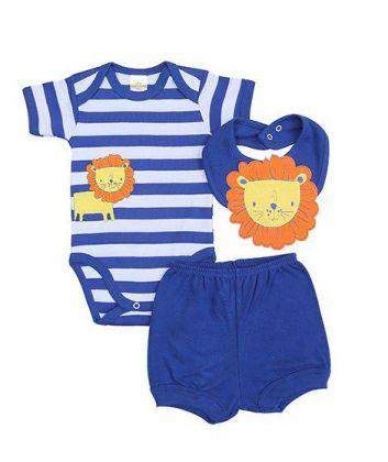 Kit 3 peças body, shorts e babador Best Club Baby listrado branco e azul com bordado leão
