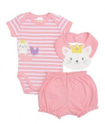 Kit 3 peças body, shorts e babador Best Club Baby listrado branco e rosa claro com bordado gato