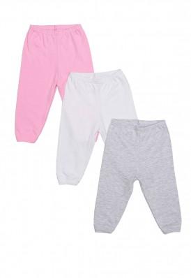 Kit 3 Peças Calça Best Club Baby cinza claro, rosa claro e branco