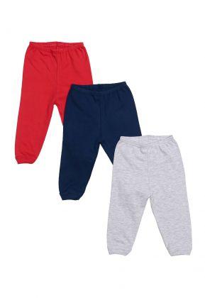 Kit 3 Peças Calça Best Club Baby cinza claro, vermelho e azul marinho