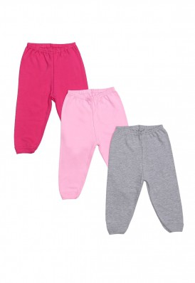 Kit 3 Peças Calça Best Club Baby cinza, rosa claro e pink