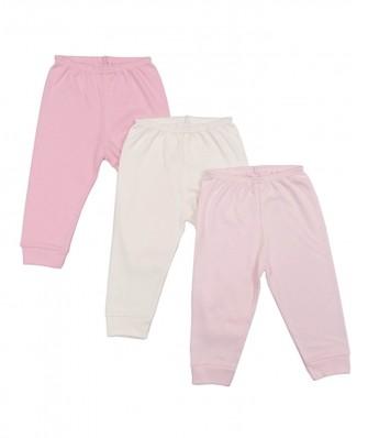 Kit 3 peças calça Best Club Baby rosa bebê e creme
