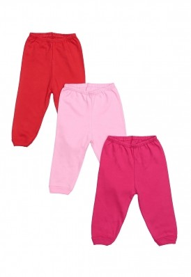 Kit 3 Peças Calça Best Club Baby vermelho, rosa claro e pink