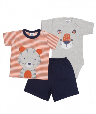 Kit 3 peças camiseta, body manga curta e shorts Best Club Baby cinza claro mescla, laranja e azul marinho com bordado tigre