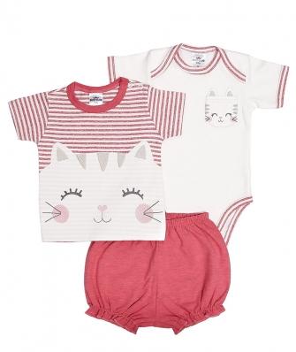 Kit 3 peças camiseta, body manga curta e shorts Best Club Baby off white e rosa cereja com bordado gato