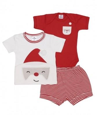 Kit 3 peças camiseta, body manga curta e shorts Best Club Baby off white e vermelho com bordado papai noel