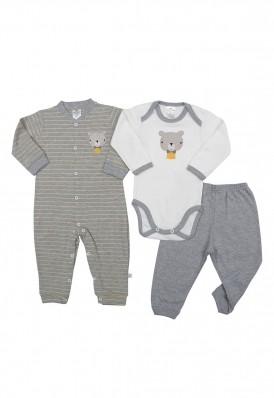 Kit 3 peças macacão, body e calça Best Club Baby creme e cinza com bordado urso
