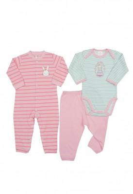 Kit 3 peças macacão, body e calça Best Club Baby rosa com bordado coelho