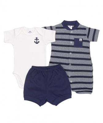Kit 3 peças macacão curto, body manga curta e shorts Best Club Baby off white e azul marinho com bordado de âncora