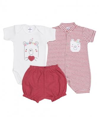 Kit 3 peças macacão curto, body manga curta e shorts Best Club Baby off white e rosa cereja com bordado urso