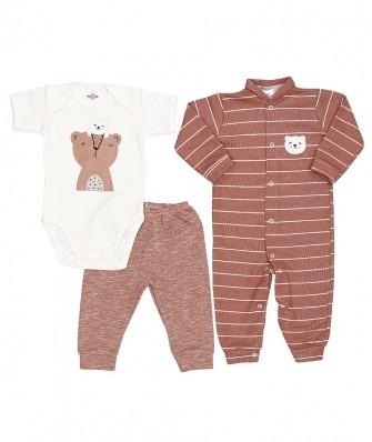 Kit 3 peças macacão longo, body manga curta e calça Best Club Baby off white e ferrugem com bordado urso