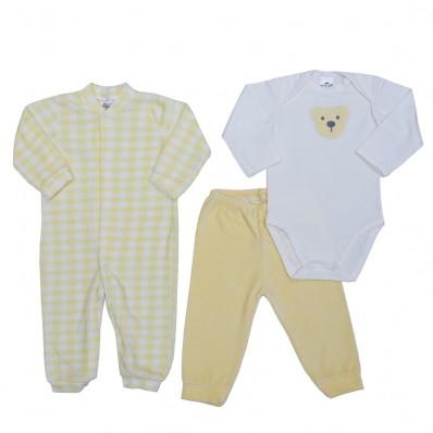 Kit 3 peças macacão longo plush, body manga longa e calça plush Best Club Baby xadrez creme e amarelo claro com bordado urso