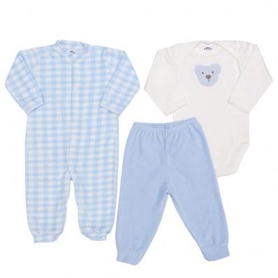 Kit 3 peças macacão longo plush, body manga longa e calça plush Best Club Baby xadrez creme e azul bebê com bordado urso