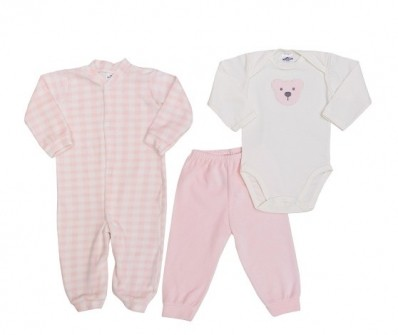 Kit 3 peças macacão longo plush, body manga longa e calça plush Best Club Baby xadrez creme e rosa bebê com bordado urso
