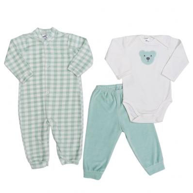 Kit 3 peças macacão longo plush, body manga longa e calça plush Best Club Baby xadrez creme e verde claro com bordado urso