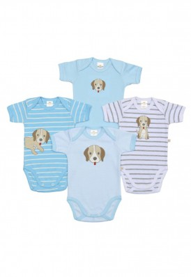 Kit 4 peças body Best Club Baby azul bebê e branco com bordado cachorro
