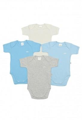 Kit 4 peças body Best Club Baby azul bebê e creme