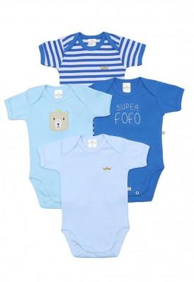 Kit 4 peças body Best Club Baby azul com bordado urso