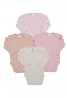 Kit 4 peças body Best Club Baby rosa bebê e creme